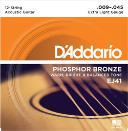 Strängset Western Phosphor Bronze 12-strängadängat 009-045