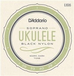 Strängset Ukulele Sopran Hawaiian Black Nylon